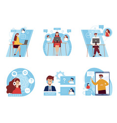Customer service headset office help characters vector