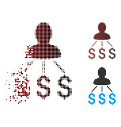 Dissolved pixel halftone person expenses icon vector