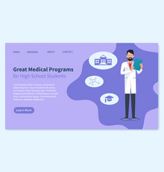 doctor or medical student university landing page vector image
