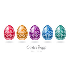 easter colorful eggs cross stitch pattern vector image