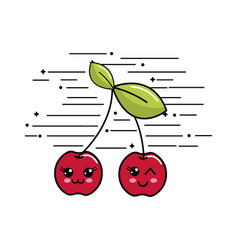 Emblem kawaii happy cherry icon vector