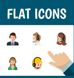 Flat icon hotline set of secretary call center vector
