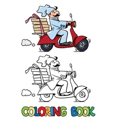 Funny pizza chef on scooter Coloring book vector