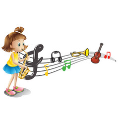 Girl playing saxophone with music notes in vector