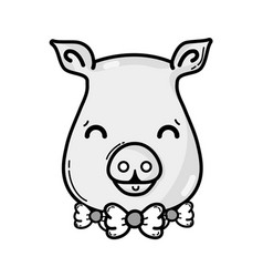 Grayscale cute pig female wild animal vector