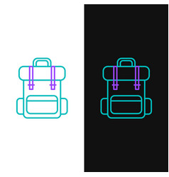 Green and purple line hiking backpack icon vector
