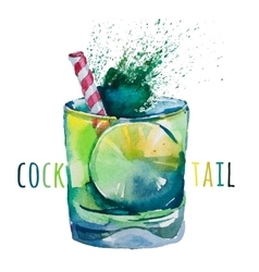 Hand drawn Mojito Watercolor vector
