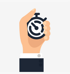 hand push on stopwatch vector image