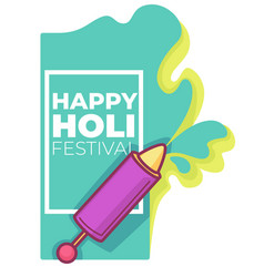 happy holi festival syringe with paint color vector image