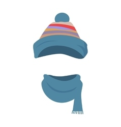 Hat Colourful Striped Headwear and Twisted Scarf vector