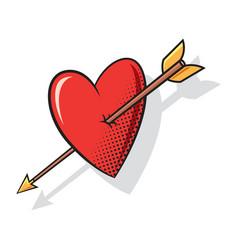 heart arrow comics style vector image