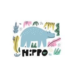hippopotamus flat hand drawn vector image