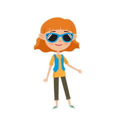 hipster in stylish clothes cartoon vector image