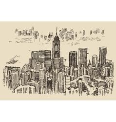 Hong Kong big city architecture hand drawn sketch vector