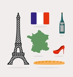 Icons symbols of France Eiffel Tower and map vector