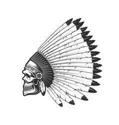 indian chief skull native american in feather hat vector image