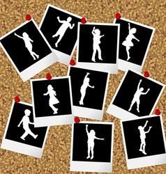 Instant photos with children silhouettes hang on vector image