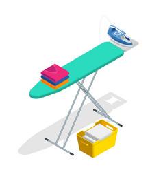 Isometric iron ironing board and laundry basketf vector