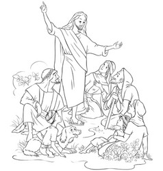 Jesus preaches the gospel coloring page vector