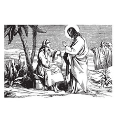 Jesus speaks to the samaritan woman at the well vector
