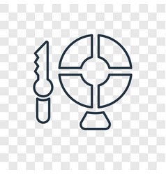 Knife throwing concept linear icon isolated vector
