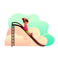 little girl on children slide vector image