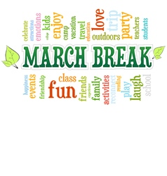 March Spring School Break Word Cloud Bubble Tag vector image