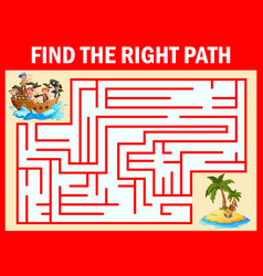 Maze game find a pirates boys group way to treasur vector