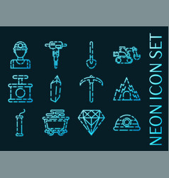 mining set icons blue glowing neon style vector image