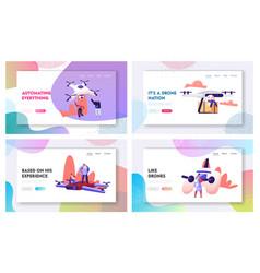 New technologies website landing page set happy vector