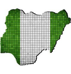 Nigeria map with flag inside vector image
