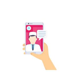 Online medical diagnosis doctor consultation vector