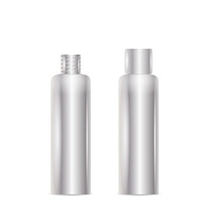 Open and closed silver bottle vector