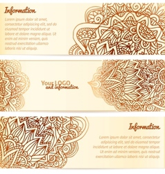 Ornate henna ornament vintage banners vector