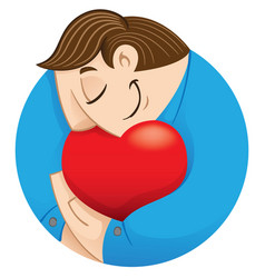 Person embracing a heart love vector