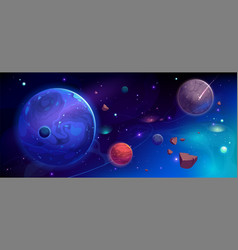 Planets in outer space with satellites and meteors vector