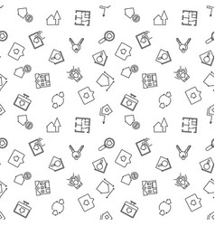 Real estate thin line seamless pattern vector