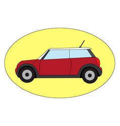 red mini cooper on white background vector image