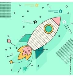 rocket flies to stars vector image