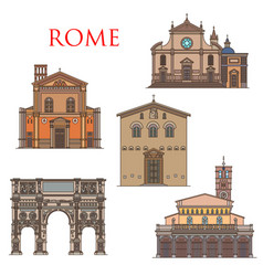 Rome famous architecture italy landmark buildings vector