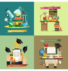 School and Education set backgrounds flat design vector image