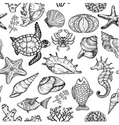 Seamless pattern with sketch of sea ocean life vector