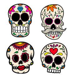 set hand drawn mexican sugar skull isolated vector image