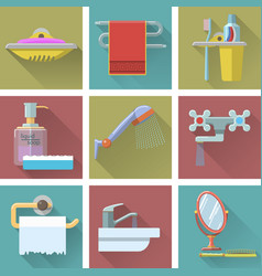 Set of bathroom icons in flat style vector