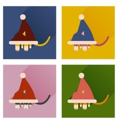 Set of flat icons with shadow Cat in Santa hat vector