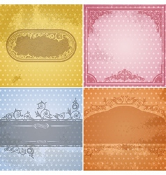 Set of vintage paper backgrounds with calligraphic vector image