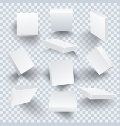 set of white blank boxes with different shadows vector image