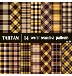 Set Tartan Seamless Pattern in golden and yellow vector