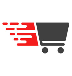 Shopping cart with fast speed effect vector
