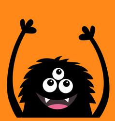 Smiling monster head silhouette thtee eyes teeth vector